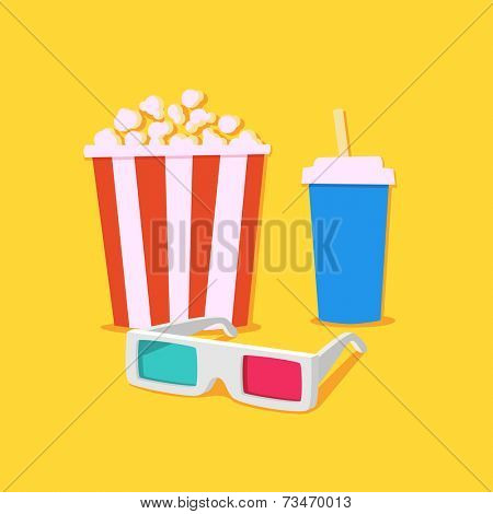 Movie time. Movie showing with Popcorn and drinks / 3D Stereo Glasses