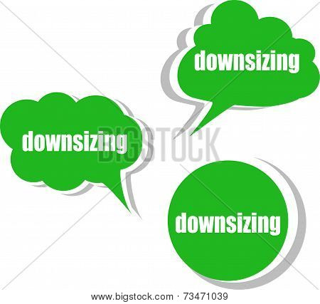 Downsizing. Set Of Stickers, Labels, Tags. Business Banners, Infographics