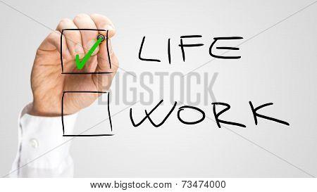Hand Checking Life Box Over Work Option