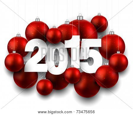 Happy 2015 new year with red christmas baubles. Vector paper illustration.