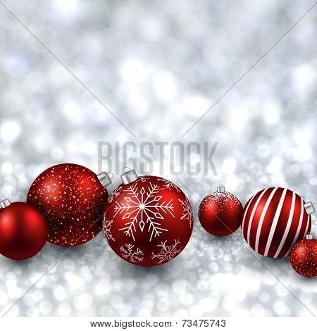 Silver defocused with red christmas balls background. Bright bokeh. Vector illustration.