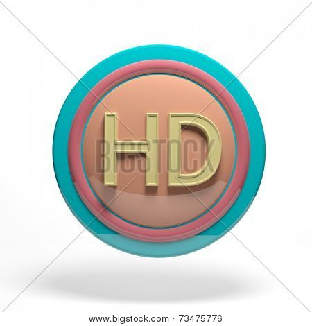 Pastel colored round button with HD symbol isolated