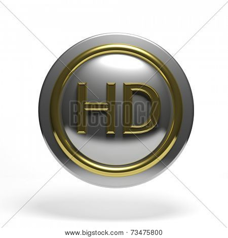 Silver round button with golden HD symbol isolated