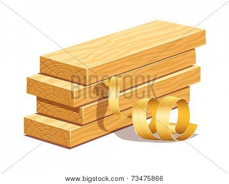rasped wooden boards and filings sawdusts. Rasterized illustration.