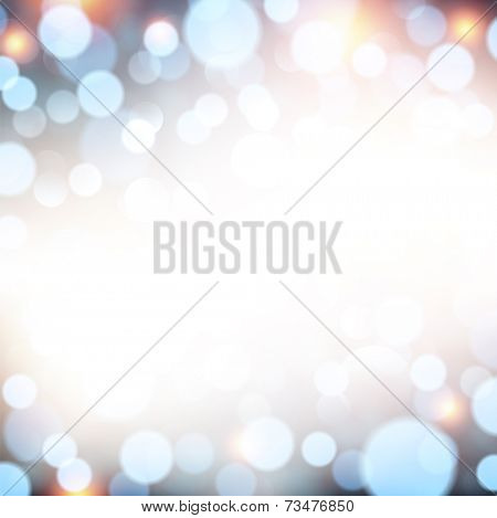 Blue defocused christmas background. Bright lights. Vector illustration.