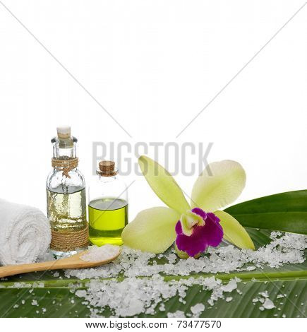 Spa set and banana leaf