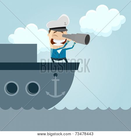 funny cartoon captain on a boat