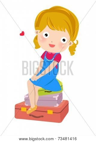 Girl sitting on the luggage