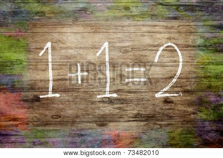 A nice wooden background with text 1+1=2