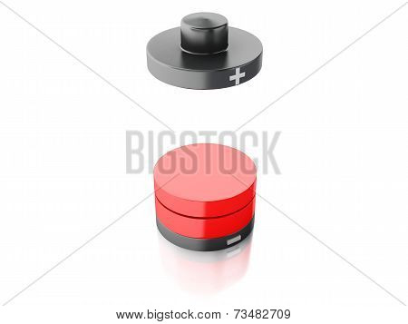 Battery icon with a low charge on white background
