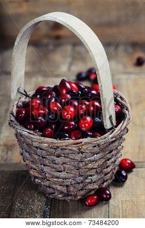 Ripe red cranberries in basket on wooden background