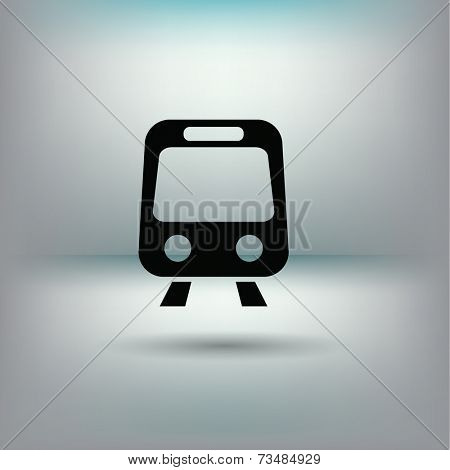 Train icon with shadow on a gradient background