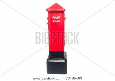 red ceramic postbox