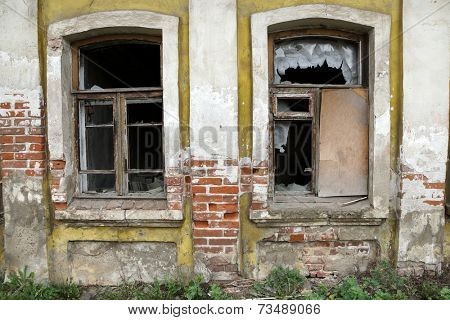 the broken windows of the old house