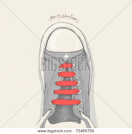 Time for Christmas. Red shoelace