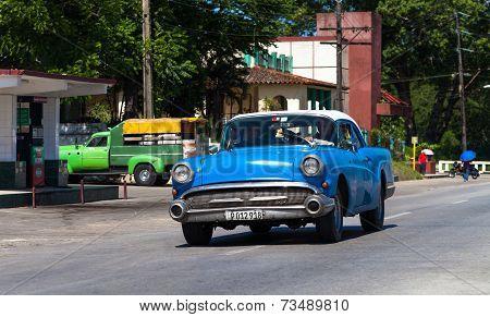 HAVANA,CUBA - June 27, 2014: Blue classic car on the road in havana