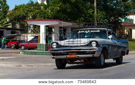HAVANA,CUBA - June 27, 2014: a classic car on the road in havana