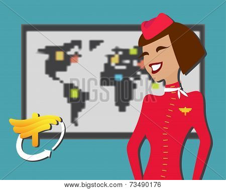 Stewardess welcomes aboard, aircompany advertisement with logo. Vector illustration.