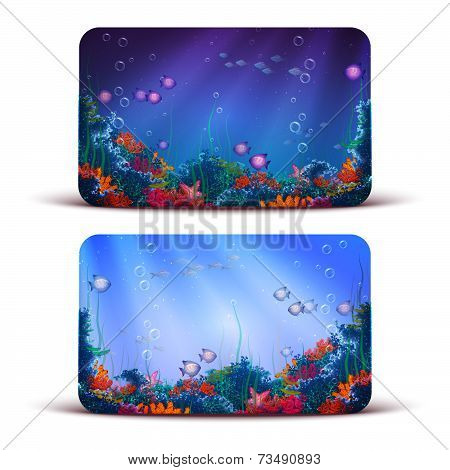 Vector Gift Card with underwater cave on background