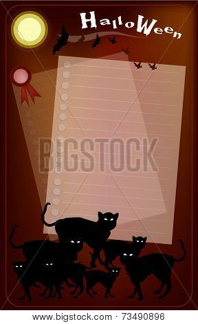 Halloween Black Cats on Full Moon Background