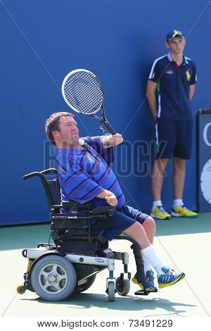 Tennis player Nicholas Taylor from United States during US Open 2014 wheelchair quad singles match