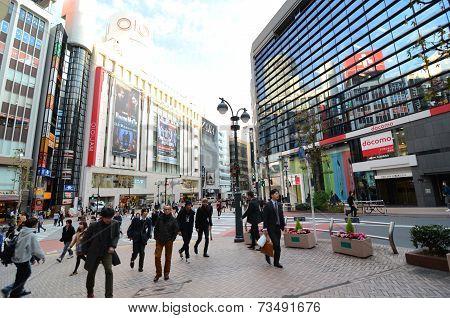 Tokyo, Japan - November 28,2013: Tourist Visit Shibuya District