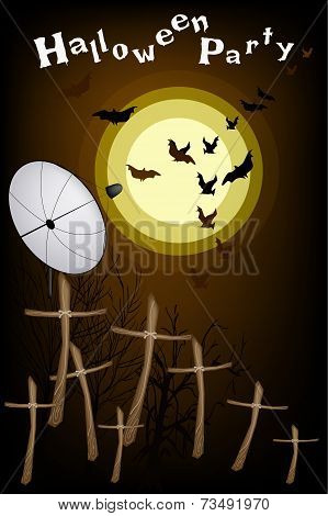 Satellite Dish Sending Evil Bats Flying Over The Cemetery
