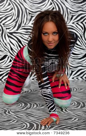 Cute Girl In Zebra Fetish Suit