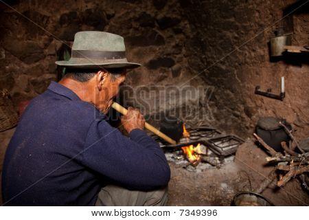 Man in Hut, South America
