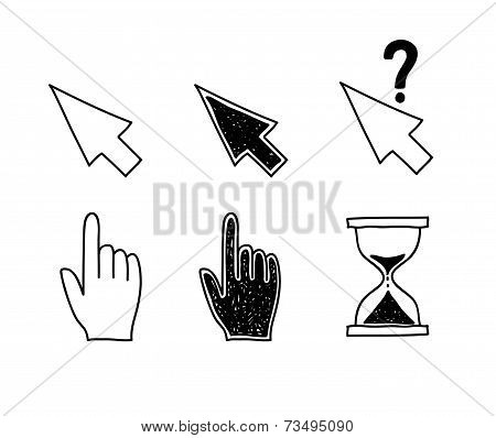 Hand drawn mouse cursors icons pointers arrow hourglass. Click, press and touch actions Vector Illus