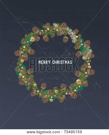 Vintage Christmas design with wreath of holly on the chalboard background