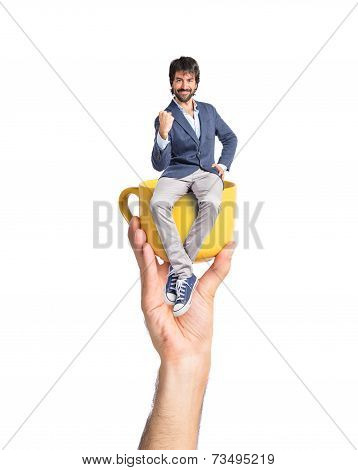 Lucky Man Over Isolated White Background