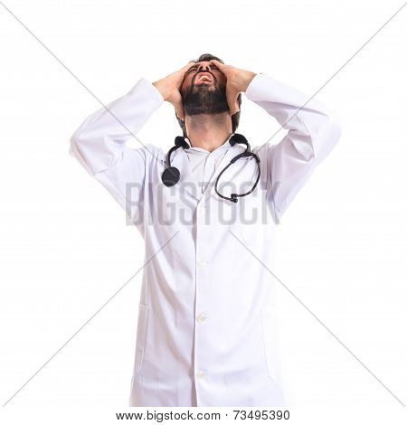 Frustrated Doctor Over Isolated White Background