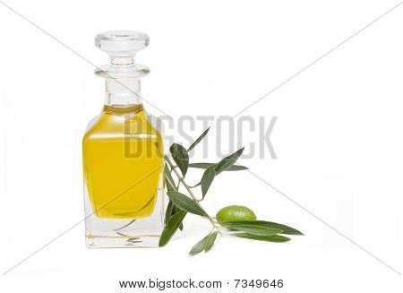 Olive oil bottle and a branch with olives.