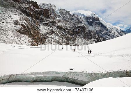 Tourists At Cho La Pass. Himalayas. Nepal