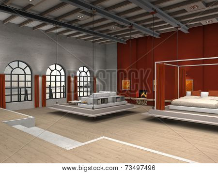 Loft with moveable bedroom and living room area