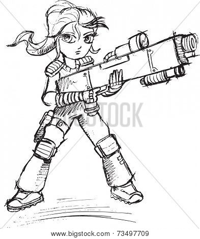 Warrior Soldier Sketch Vector Illustration Art