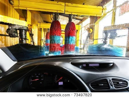 Car Wash From Inside A Car During The Wash.