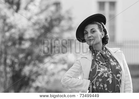 Woman In Vintage Clothes