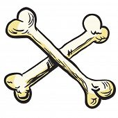 stock photo of skull cross bones  - crossed bones cartoon illustration - JPG