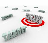 image of bullseye  - Moving Target 3d Words on a bullseye as an elusive location that keeps changing and you must find - JPG