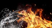 foto of fireball  - Symbol of water and fire energy - JPG