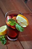 stock photo of pitcher  - glass and pitcher of ice cold Sangria - JPG