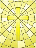 stock photo of stained glass  - Cross on gold light in stained glass style - JPG