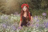 image of deportation  - Girl with a wreath on his head with wildflowers - JPG