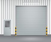 picture of roller shutter door  - Illustration of shutter door and steel door outside factory gray color - JPG