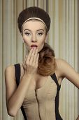 picture of big-girls  - Young beautiful retro girl in fitted cream and black dress - JPG