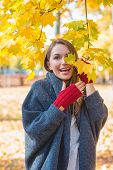 picture of vivacious  - Laughing vivacious woman wearing bright red mittens playing amongst the colorful yellow leaves in an autumn park - JPG