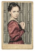 pic of pompous  - Portrait of young beautiful medieval woman in old photo frame - JPG