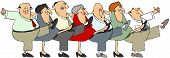 stock photo of cans  - Illustration depicting senior men and woman dancing the can - JPG